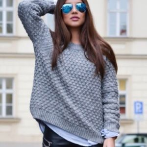 Gray Loose Knit Spring Sweater